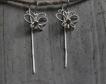 Sterling Silver Threader Earrings, Sterling Silver Butterfly Earrings, Sterling Silver Earrings, Butterfly Earrings, Fashion, JE0006
