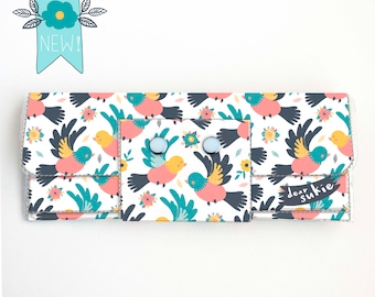 Vinyl Long Wallet - Spring Birds / bird wallet, vegan, pretty, large wallet, clutch, card case, vinyl wallet, handmade, summer accessories