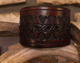 """New Genuine Leather Handmade Men's Cuff Wristband Bracelet Women's Leather Cuff Bracelet Wristband Brown 8"""" Rustic Leather Gift Made in USA"""