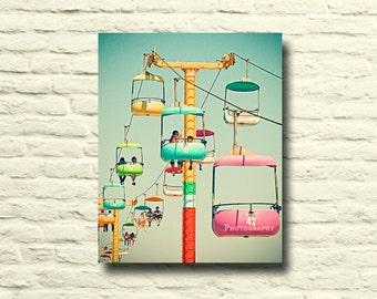 Santa Cruz Photography. Skygliders. Sky Cabs. Carnival. Fair ride. beach boardwalk. colorful. nursery decor. childrens room art. canvas art