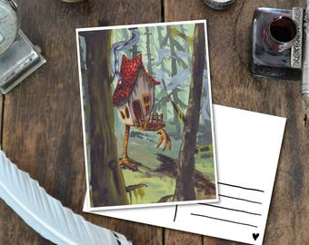 Baba Yaga's Home - Postcard met Illustratie, home of the witch russian fairytale art