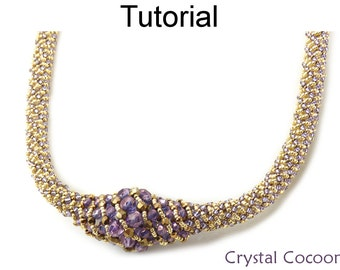 Russian Spiral Stitch - Beaded Necklace Pattern - Jewelry Making Tutorial - Simple Bead Patterns - Crystal Cocoon #18596