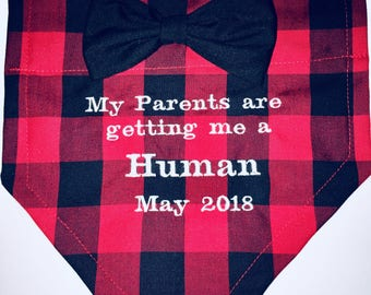 Dog Pregnancy Announcementl, Dog Bandana, Buffalo Plaid, My Parents are getting me a Human, Baby Announcement, Gender Reveal, Big Sister