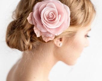 Blush Pink Flower Hair Clip - Bridal Rose Hair Clip - Blush Pink - Dusty Rose -  Wedding Hair Accessories