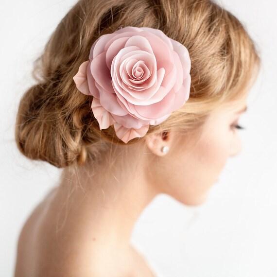 Blush pink flower hair clip bridal rose hair clip blush mightylinksfo