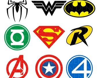 Superhero Logos Clipart - Superhero Svg -Superhero vector clipart digital download svg, jpg, png, dxf, eps