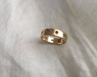 Antique Victorian Gold Wedding Ring Starbursts Semi Precious Stones Marked Ladies Size 6 1/4 Pinky Ring