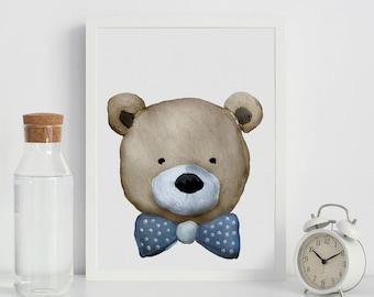 Teddy Print Art Print, Downloadable Teddy Wall Print, Nursery Art Decor, Kids Room Wall Art, Kids Large Poster, Baby Shower Art Print, kids