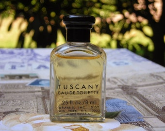 Tuscany for men by Aramis, 0.25 oz./ 8 ml mini bottle, early 1990s. Eau de toilette for men.  Tuscany per uomo.