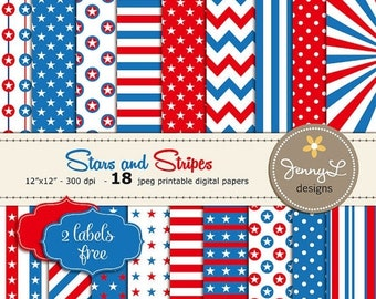 50% OFF Stars and Stripes Digital Paper, Patriotic, 4th of July, Memorial Day, Labor Day Celebration, Red White Blue Printable Digital Paper