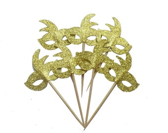 Gold Mardi Gras Mask Cupcake Toppers - Set of 12+ Masquerade Party, Birthday Party, Bachelorette Party Fun Decor - Die Cut