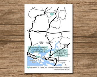 Custom Wedding Map, Event Map, Directions, Locations - PRINTABLE file - Enclosure Card, Invitation Insert with a map