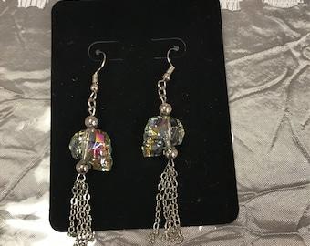 Swarovski crystal skull earring
