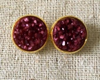 Faux Druzy Studs - Druzy Earrings Resin Cabochon 12mm Stud Earring
