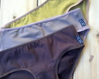Set of three organic cotton panties, custom made lingerie