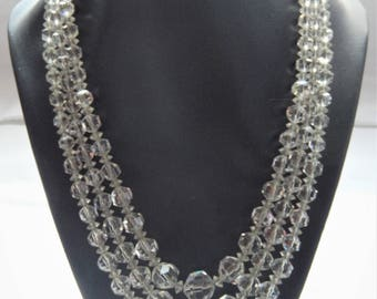 1940's 3 strand cear crystal necklace