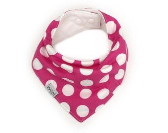 Baby Bandana Bib, dribble bib, baby drool bib, baby scarf bib, toddler scarf bib, toddler drool bib, pink polkadot print