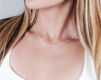Sterling Silver Chain Necklace, Gold Choker Necklace, Thin Choker Necklace, Satellite Necklace, Choker Chain Necklace, Tiny Beaded Chain