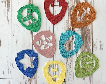 Paw Patrol 24 pcs Glitter Badges - die cuts/table scatter/embellishments/cupcake toppers - Various Character Badges