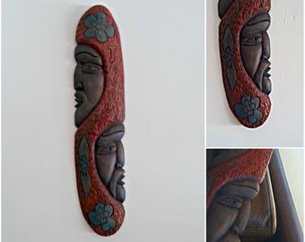 Wood Man Face Handcarved, Folk Art Face Totem Pole Vintage, Jamaican Figurine, Tribal Wall Decor Wall Faces, Caribbean Wood Art Red Blue