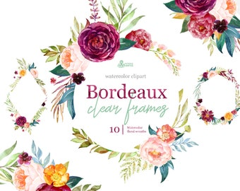 Bordeaux. Clear Frames, watercolor floral clipart, burgundy, maroon, purple, bridal, wedding, flowers, peony, marsala, trend, bridal, navy