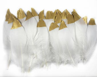 6-8 inch Gold Dipped Craft Natural Goose Feathers
