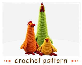 fichier PDF de 3 poulets - crochet pattern - - Amigurumi