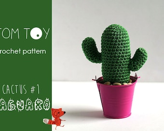 Saguaro Cactus #1 Crochet PATTERN, TomToy Potted plants collection, Step by step photo tutorial, Amigurumi DIY cactus, Home decor, Office