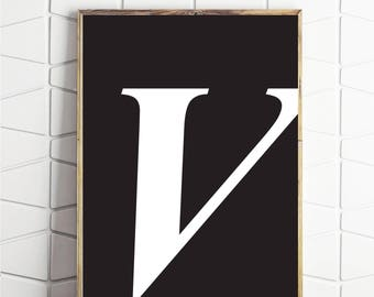 typography wall decor, typography art, letter v art, v wall decor, v wall print, v poster, v capital art