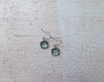Grey Gem and Silver Earrings | Bridesmaid Earrings | Wedding Jewelry