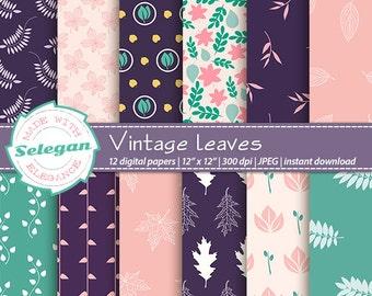 "nature decor "" Vintage Leaves "" digital scrapbook paper 12x12 printable leaves pattern leaf texture nature background green navy blue pink"