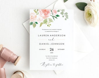 Floral Wedding Invitation Template, Printable Wedding Invitation Set Templates, Floral Invitation, Calligraphy, PDF Instant Download, MM08-3