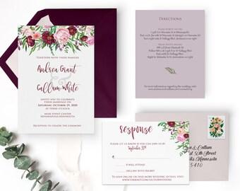 Burgundy Invitation SAMPLE