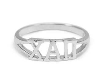 Chi Alpha Pi Sterling Silver Ring // XAII Sorority Jewelry // Sorority Gifts // Gifts for her // Custom Sorority Rings // Greek Letter Gifts