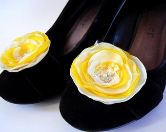 Yellow wedding bridal shoe clips (set of 2), bridal shoe clips, yellow shoe clips, ivory shoe clips, bridal heels, READY TO SHIP