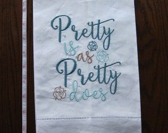 Linen Tea Towel w/Embroidery