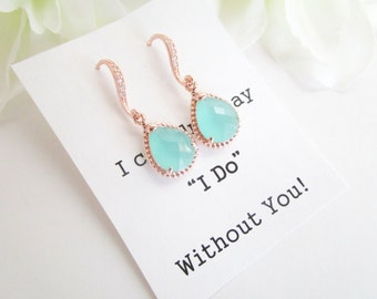 Personalized Bridesmaid Gift,Bridesmaid Earrings, Rose Gold Bridesmaid Earrings,Mint Green Earrings, Bridal Earrings, Beach Wedding Jewelry