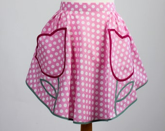 Handmade apron - Vintage style Apron - Spotted apron -Pin up Apron -  Housewarming gift -  1950's style - gift for her - Retro style apron