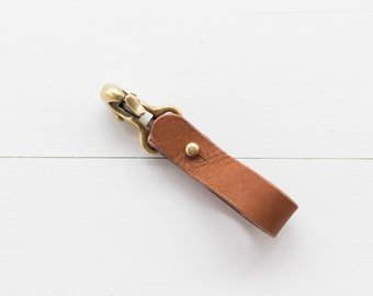 Leather Japanese Brass Hook Keychain - Brown