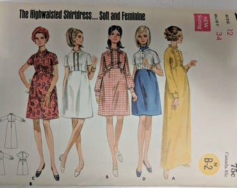 5201, Butterick, Vintage, Sewing Pattern, Dress Pattern, Uncut, Out of Print, Size 12