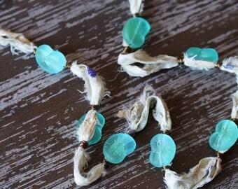 Unlisted - Ivory Silk Necklace - Shell Necklace - Beach Shell Necklace - Sari Silk Jewelry - Aqua - Sea Glass Jewelry - Bead Soup Jewelry