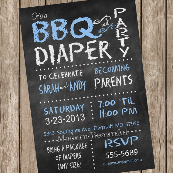 Chalkboard Couples BBQ and diaper Baby Shower Invitation