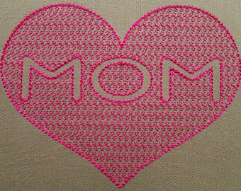 Heart Mom Embroidery Design Instant Download