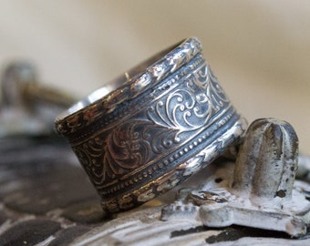 Sterling silver band, wedding band, woodland band, unisex silver ring, vine ring, oxidized silver ring, wide Band, boho ring - Believe R1741