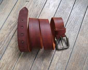 Hand made bespoke leather belt