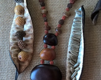 Long bohemian necklace handmade with natural material