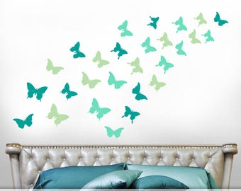 Butterfly Decals for Walls in Teal, Mint, and Sage Green, Butterfly Decor for Girls Room, Butterflies Wall Decals, Bedroom Decor (0177b0v)