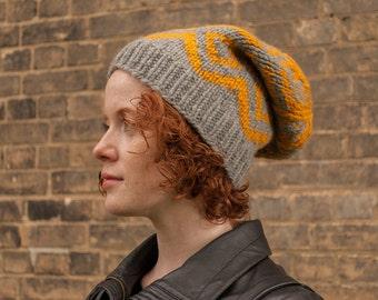 Slouchy women's hat, Slouchy men's hat, Knit winter hat, Knitted Fair Isle hat, Mustard winter hat
