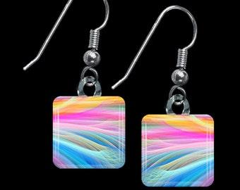 Rainbow Ribbons Earrings(ERain1.3)