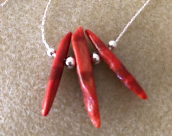 Sponge Coral and Sterling Necklace